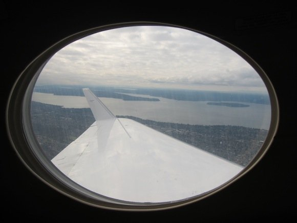 View of water after takeoff