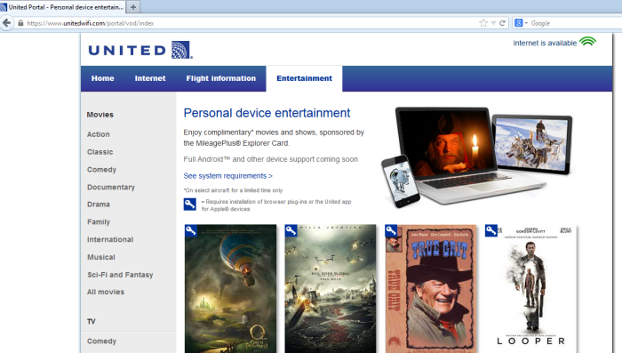 Entertainment tab for accessing streaming IFE