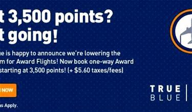 JetBlue TrueBlue Lowers Award Minimum To 3,500 Points