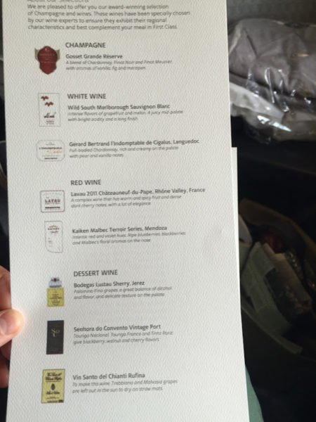 American Airlines First Class Dallas-Madrid wine list
