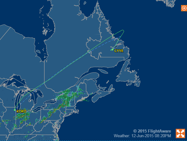 United 898 on June 12, 2015 diverted to Goose Bay, Canada.