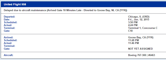 United 958 diverted to Goose Bay on June 12.