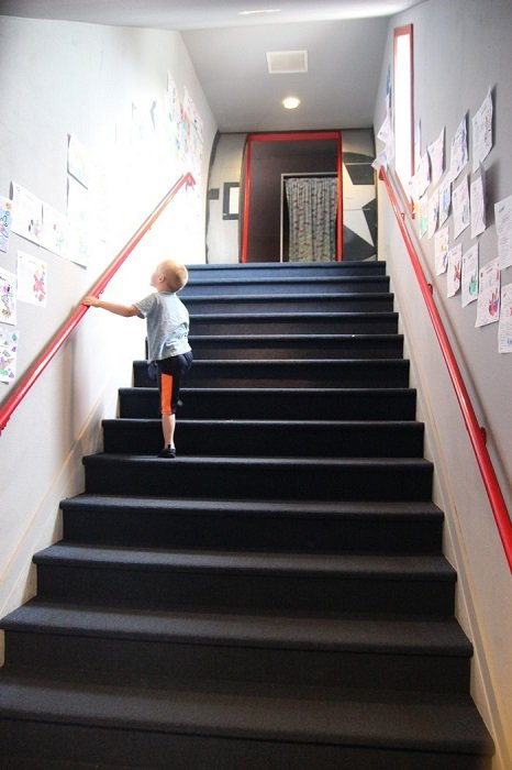 Boarding via the rear stairs