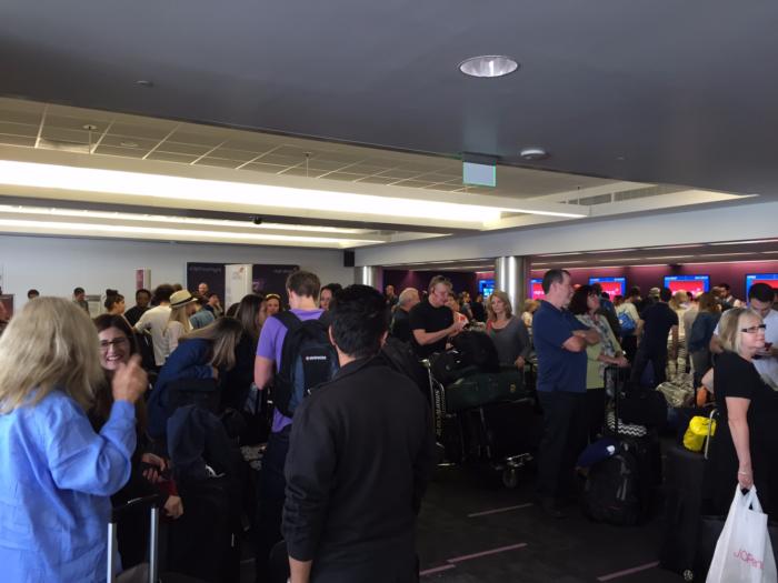 Massive crowds at Virgin Atlantic check-in area