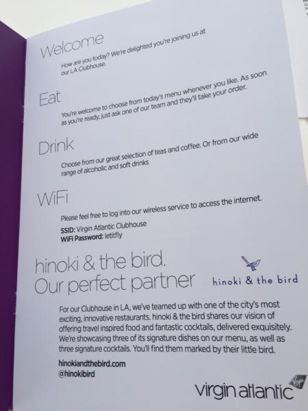 Virgin Atlantic Clubhouse LAX menu introduction