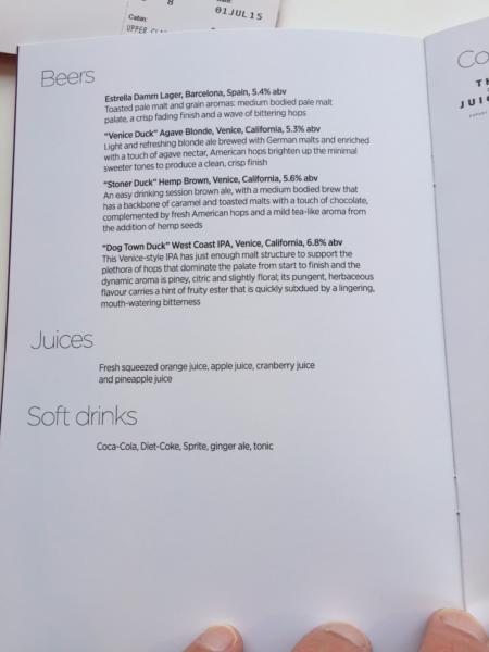 Beer and soft drink menu