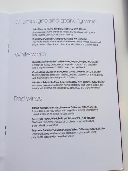 Virgin Atlantic Clubhouse LAX wine menu