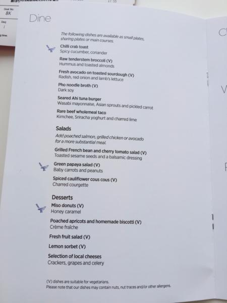 Virgin Atlantic Clubhouse LAX dining menu