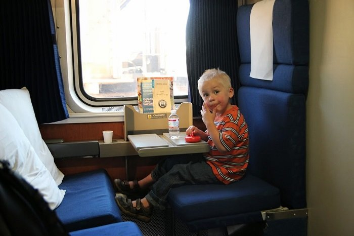 Family bedroom on Amtrak