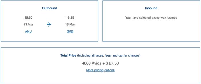 British Airways Avios ANU to SKB