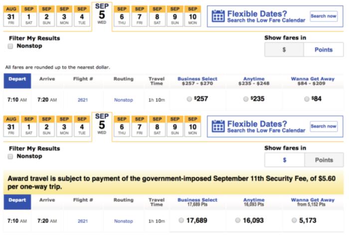 Southwest Airlines Cash Versus Points