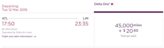 Virgin Atlantic Flying Club ATL-LIM Example